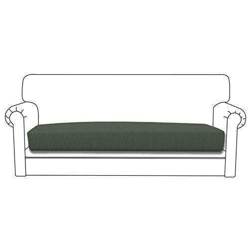 Easy-Going Funda de cojín elástica para sofá, funda de sofá, funda de sofá, funda de sofá suave y flexible con parte inferior elástica (cojín de sofá, verde oliva)
