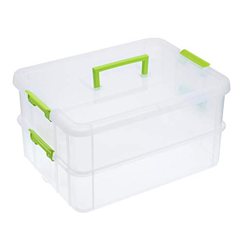 JuxYes 2-Tiers Stack Carry Storage Box With Handle, Transparent Stackable Storage Bin With Handle Lid Latching Storage Container for School & Office Supplies (Green)