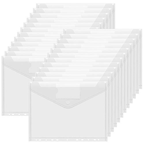 30 pcs Cartellina Portadocumenti A4 Trasparenti,Cartellette File a4,A4 Cartellette,Porta Documenti A4,Cartelle a Busta Portadocumenti,Colore A4 Cartelle Plastica,Bottone per Documento