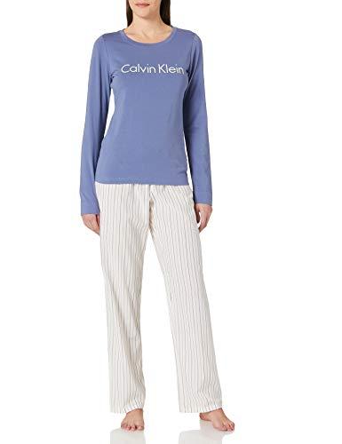 Calvin Klein L/S Pant Set Juego de Pijama, Violeta/Rayas alternas, S para Mujer
