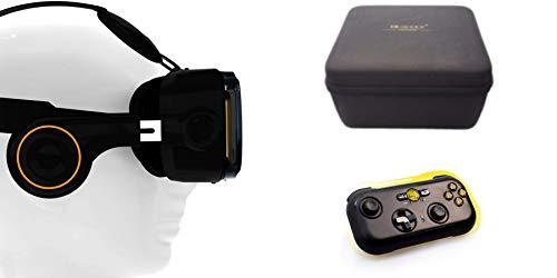 VR-Shark® X4 Bundle - Virtual Reality Kit & Bluetooth Gamepad & Hardcase | VR-Brille für 4,7 - 6,1 Smartphones | Komp. mit iPhone 7 Plus Nexus / Samsung / LG/ Huawei / Sony FOV 120° PD + FD Android