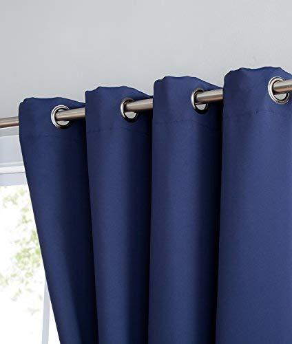Nicole – Panel de cortina opaca con aislamiento térmico premium – 8 ojales – 1 alzapaños de cuerda – 108 pulgadas de ancho – 1 panel de 54 ancho x 108 l, azul marino
