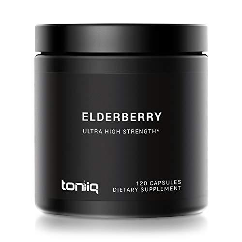 Ultra High Strength European Black Elderberry Extract - 10% Anthocyanidins - Concentrated Sambucus Formula - 120 Capsules