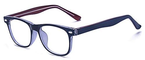 Alwaysuv - Occhiali per bambini e ragazzi, anti affaticamento degli occhi, lenti trasparenti (rosso)