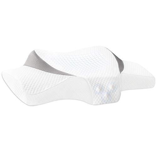 Merece Almohada cervical de espuma viscoelástica ergonómica – Almohada ortopédica cervical, apoyo y de lado para dormir, suave, lavable, hipoalergénica, 62 x 36 x 9 cm