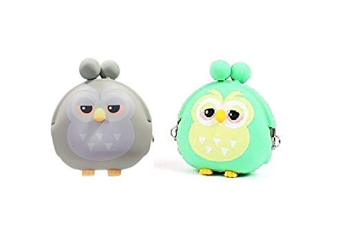 GeekGoodies Pack of 2 Silicone Owl Coin Purse Mini Pouch/Bag/Car Key Case- 2 pc (Green and Grey)