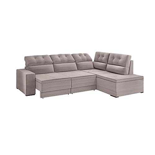 Sofá de Canto Bhouse 5 lugares retrátil e reclinável Mônaco tecido suede Veludo Soft - Capuccino