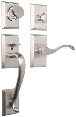 Rockwell Premium Solid Brass Savoy Single Cylinder Entry Door Handle Set Durable Door Hardware, Door Handles, Exterior Door Handle in Brushed Nickel Finish