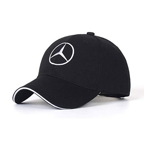 DIYcarhome Car Logo Adjustable Baseball Cap, Unisex Hat Travel Cap Car Racing Motor Hat for Mercedes-Benz Black