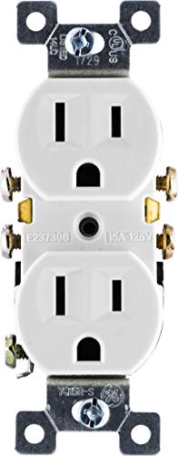 GE Grounding Duplex Outlet, 3 Prong Electrical Socket, Easy Install, 15 Amp, UL Listed, White, 54309 Wall Receptacle, Standard