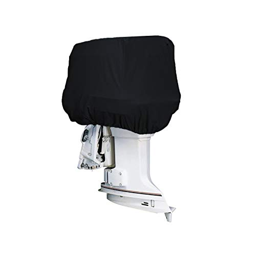 OVCRNIBI Full Outboard Motor Cover, Upgraded Waterproof UV Resistant Outboard Engines Cover, 600D Heavy Duty Motor Hood Cover, Boat Motor Covers Fits Motor Up to 10Hp/20Hp/60Hp/150Hp, Black,Gray