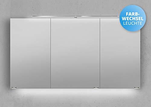 Intarbad ~ Spiegelschrank 130 cm LED Beleuchtung mit Farbwechsel doppelseitig verspiegelt Weiß Hochglanz Lack