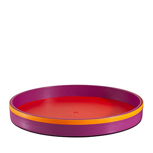 DUDU Bandeja para Servir Redonda de Piel de 32 cm Multicolor de Almacenamiento para casa para Oficina Diseño Refinado Fucsia