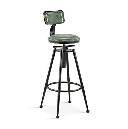 Tabouret de bar vintage Chaise de travail de cuisine Cuisine Chaise de petit-déjeuner Tabouret haut Chaise de loisirs réglable en hauteur Chaise pivotante Chaise de salle à manger verte (Couleur: A)