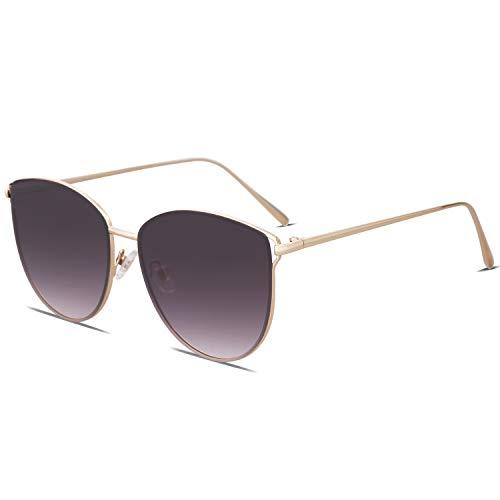 SOJOS Gafas De Sol Redonda Ojo De Gato Retra Plana Mujer Metal SJ1085 Con Marco Dorado/Lente Gris Gradiente