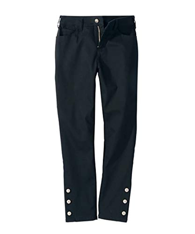 [nissen(ニッセン)] 9分丈 ストレッチ 裾飾りボ タンス リム ストレート パンツ ゆったり ヒップ 大きいサイズ レディース