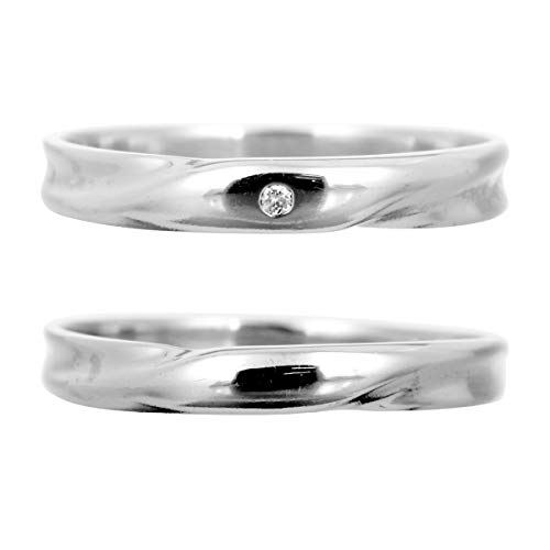 [ココカル]cococaru ペアリング ダイヤリング 2本セット K10 ホワイトゴールド ダイヤモンド マリッジリング 結婚指輪 日本製(レディースサイズ7号 メンズサイズ9号)