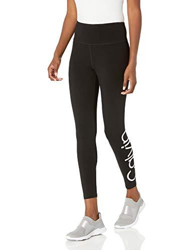 Calvin Klein Damen Calvin Logo High Waist 7/8 Leggings, Weißer Kombi, Mittel