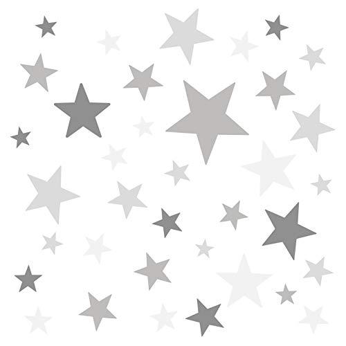 Little Deco Wandaufkleber 60 Sterne Kinderzimmer Junge Mädchen Stars I grau I Wandtattoo Schlafzimmer Wandsticker Set bunt selbstklebend DL394