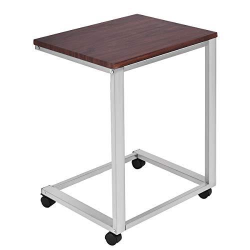 COSTWAY Mesa para Ordenador de Metal + Madera con Ruedas 50x40x65cm Portátil Auxiliar Mesa de Centro Cuidado para Sofá Dormitorio Escritorio (Gris-Plata)