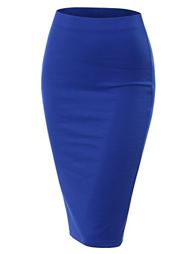 Doublju Stretch Knit Midi Pencil Skirt with Back Slit for Women with Plus Size Royal X-Large