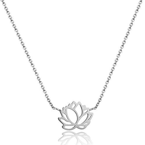 Tata Gisèle © Collar de acero inoxidable plateado – Flor de loto – Origami plegado – Bolsa de terciopelo de regalo