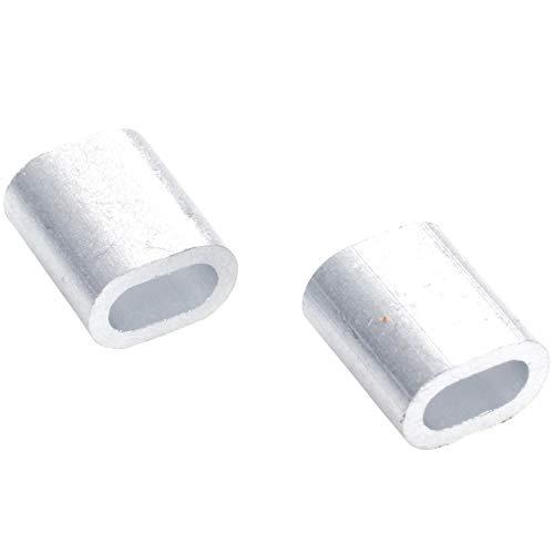 LilyJudy 50 x Ovaal Aluminium h uelsen Klemmen voor 2 mm Draad Touw Persklem Zilver Toon