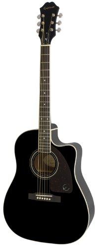 Epiphone AJ-220SCE Solid Top Cutaway Akustische/Elektrische Gitarre (Ebenholz Lack, Mahagoni Hals, Palisander Griffbrett, 25.5 Mensur)
