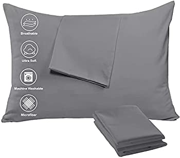 4 Pack Pillow Cases Protectors Zip Standard 20x26 Inches❤️ Life Time Replacement❤️ Brushed Dark Grey Extreme Soft Cooling Microfiber Wrinkle Stain Fade Resistant