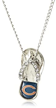 NFL Chicago Bears Grace Flip Flop Pendant Necklace with Crystal Accent