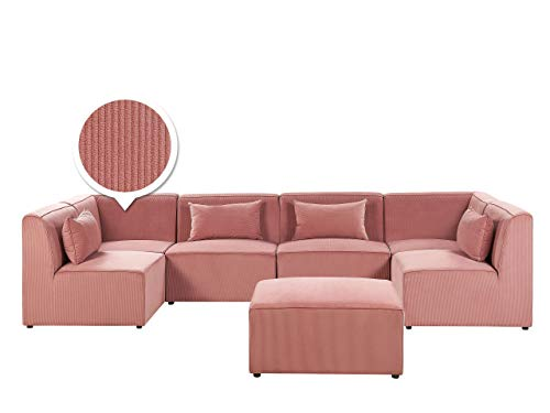 Canapé d'angle 6 places Rose Velours Luxe Moderne Panoramique