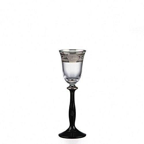 Bohemia Lot de 6 verres à liqueur en cristal avec gravure argentée et pied noir, 60 ml