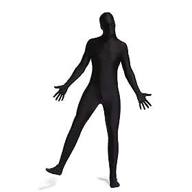 Timein Full Body Spandex Suit Menwomen Zentai Suit Black X Large