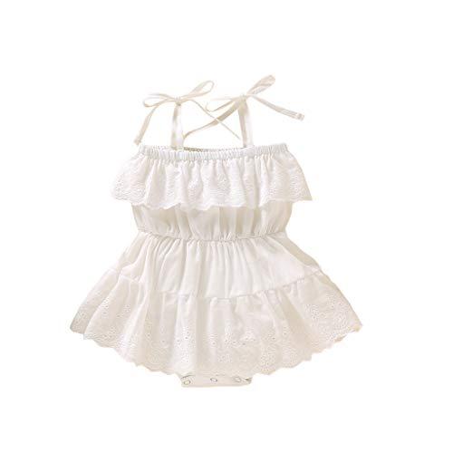 YWLINK Mameluco De Una Pieza para BebéS Y NiñAs, De Encaje Floral, Vestido Tutú Sin Espalda, Traje De Verano Mamelucos De Encaje Mameluco De Encaje