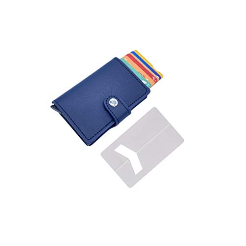 Tarjetero de Hombre pequeño con Monedero (con pequeña Cartera) – Tarjetero metalico Aluminio automatico RFID para Tarjetas de crédito de Piel Sintetica ✚ Soporte Tarjeta para teléfono movil (Azul)