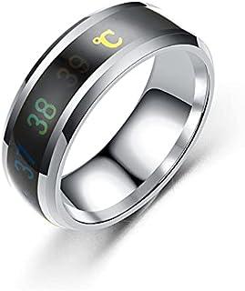 خاتم ذكي للجنسين بلون فضي قياس درجه الحرارة الجسم مقاس 8