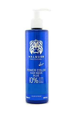 Válquer Professional Mascarilla Power Color cabellos teñidos. Vegano y sin sulfatos (Azul). Potenciador color pelo- 275 ml