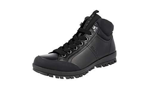 Prada Herren Schwarz Leder High-Top Sneaker 4T3357 OLV F0002 44 EU/UK 10