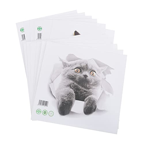 OSALADI 12 Piezas Pegatinas de Gato en 3D Dibujos Animados Animales Lindos Pegatinas de Nevera Extraíbles de Vinilo Gatos Murales de Papel Tapiz para Dormitorio Nevera Asiento de Inodoro