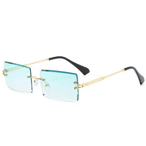 Gafas de Sol polarizadas Redondas clásicas Retro para Hombres y Mujeres, Montura de anteojos Anti-Ultravioleta, rectángulo de Montura de Metal Degradado, Viajes-Light Green