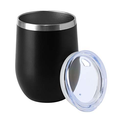 HASLE OUTFITTERS - Vaso de Vino de Doble Pared sin Tallo con Tapa para Bebidas frías y Calientes, Vino, café, cócteles, Cerveza