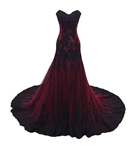 P.L.X Damen Lange Mehrfarbig Gothic Hochzeitskleider Spitze Vintage Brautkleider