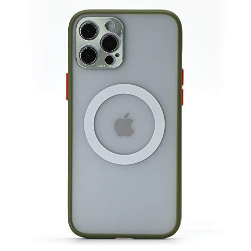 ara el Caso del iPhone 12 Pro MAX, para iPhone 12 Pro MAX Cover, CrazyLemon Magsafe Charging Case Estuche Mate con Marco de Lente de Metal Estuche magnético - Matcha Verde