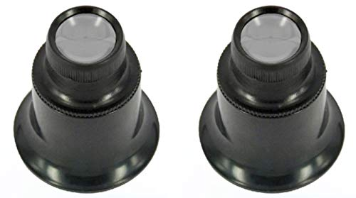 [2 Pack] 20X Jewelers Loupe Magnifier Monocular Jewelry Magnifier Loop Hands Free Eye Magnifying Glass for Watch Repair, Coins, Gems, Stamps, Watches, etc