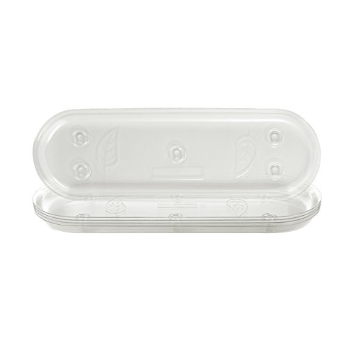 Idyllize Oval 5 Pieces of 14 by 4 5/8 Inches Clear Plastic Heavy Duty Plant Saucer Drip Trays for pots, Window Sills and Window Shelf (14'' x 4.6'')