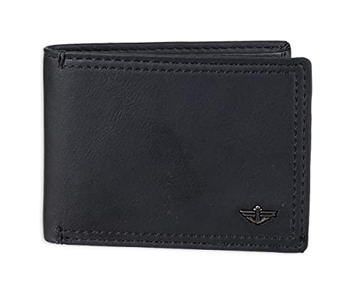 Dockers Bifold Leather Wallet-Thin Slimfold RFID Blocking Security Accesorio de Viaje- Billetera Plegable, Jack Negro, Talla única para Hombre