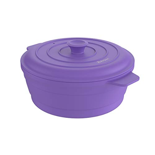 Bakerpan Silikon-Topf, rund, zusammenklappbar, platzsparend, Dampfgarer mit Deckel, 163 ml Fassungsvermögen