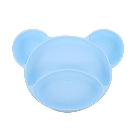 TOYANDONA Silicona Bebé Dividido Placa Lindo Oso Forma Portátil Antideslizante Ventosa Platos de Alimentación Bebé Cena Plato para Niños Azul