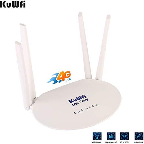 4G router, Unlocked 300 Mbps, 4G, LTE, draadloos, CPE, WiFi, router met SIM-kaartsleuf en krachtig, 4 stuks, Access Zone WLAN, antenne, niet afneembaar CPE812-Cat6