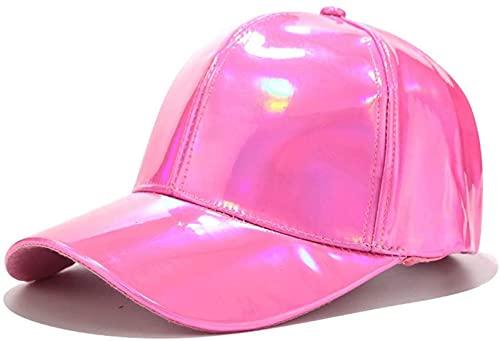 QAZW Gorra de Béisbol - para Hombres y Mujeres - Cuero Sintético - con Brillo Metálico Holográfico Arcoíris - Reflectante - Hip Hop - Ajustable,Pink